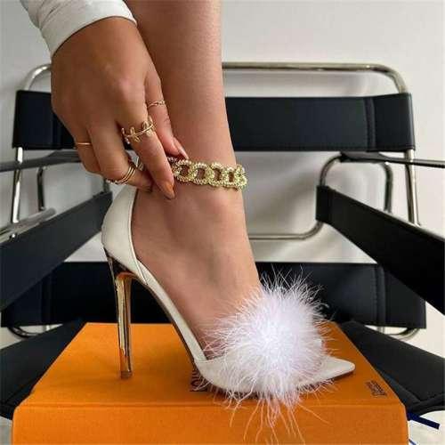 Chains Decoration Bandage Thin Heeled Sandals