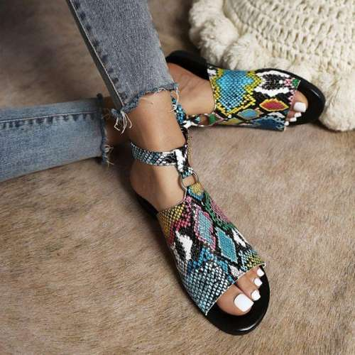 Women's Snake Print Buckle Casual Sandals