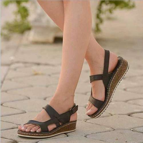 Women Wedges Orthopedic Hollow Out Summer Vintage Sandals