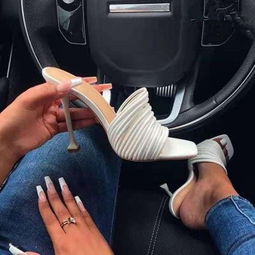 Summer Women's Sandals Square Sock Ladies Heels