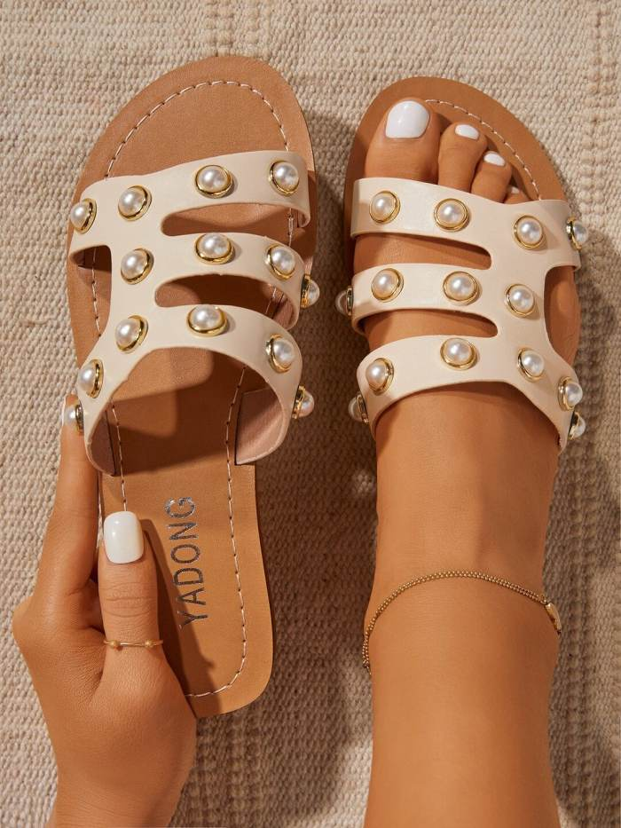 Pearl Embellishment Strappy Slippers