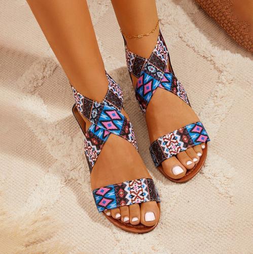Women's Boho Crossover Strap Sandals