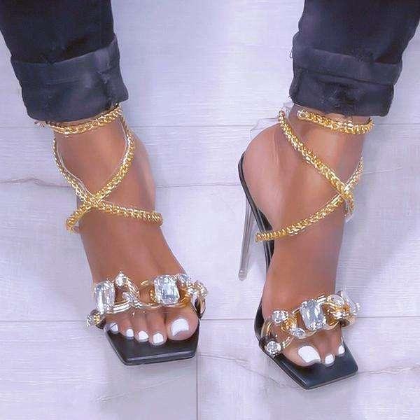 Snakeskin Pattern Chains Decoration Bandage Thin Heeled Sandals
