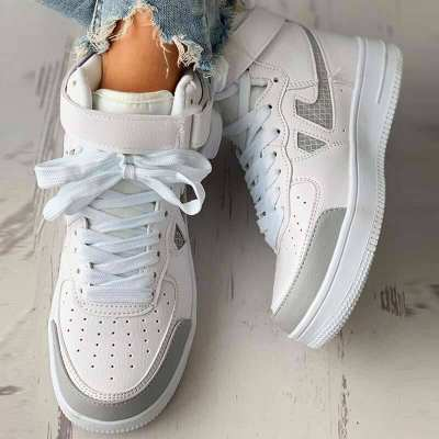 Velcro Letter Print Colorblock Lace-up Sneaker