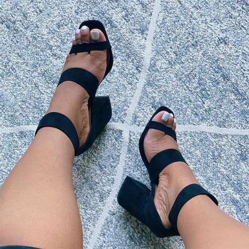 Elegant Zipper Ankle Buckle Block Heels