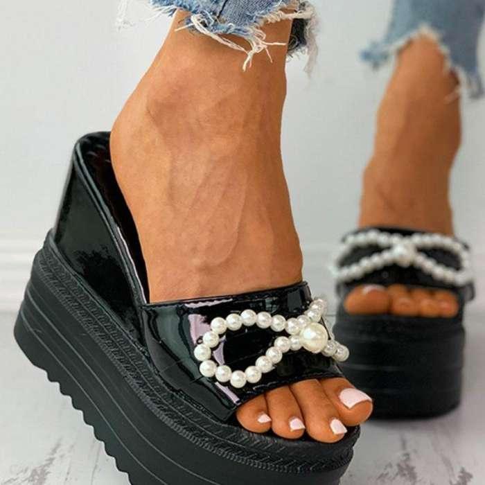 Bowknot Beaded Peep Toe Platform Sandals