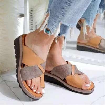 Women's PU Wedge Heel Sandals Platform Wedges Peep Toe Slippers
