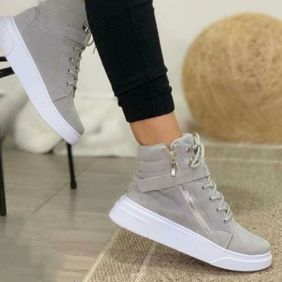 Women's Fashionable And Comfortable Velcro High-Top Sneakers