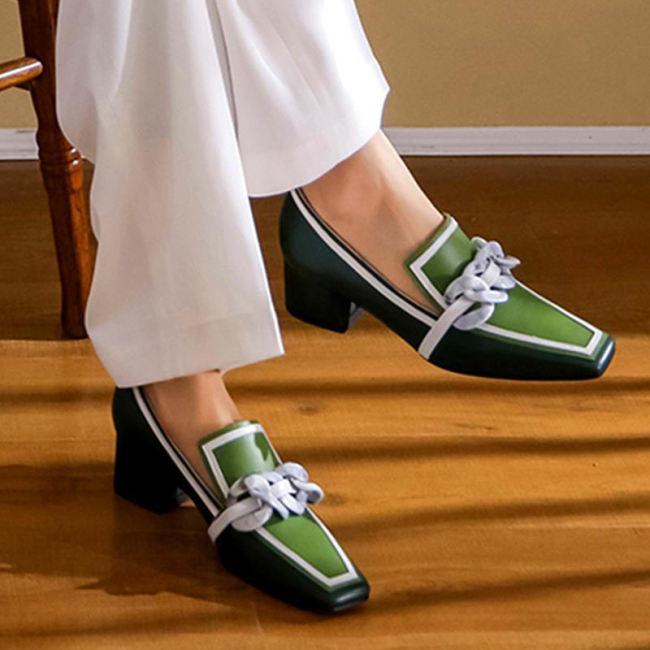 British Retro Square Toe High Heel Sandals