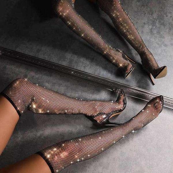 Women Sparkle Black High Heels