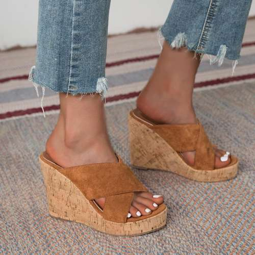 Thread Slip-On Cross Wedge Heel Summer Slippers