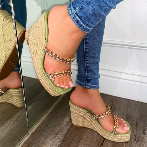 Fashion Platform Wedges Metal Chain Shoes