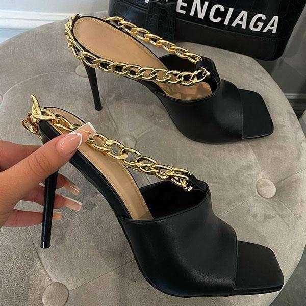 Fashion Stiletto Metal Chain Slippers