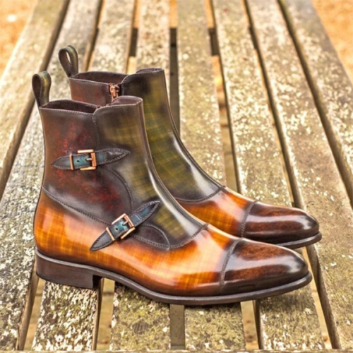 Trendy Fashion New Low-heeled Non-slip Color Matching Men's Low Boots Tide