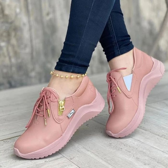 Women's Lace-Up Casual Comfortable Flat Sneakers
