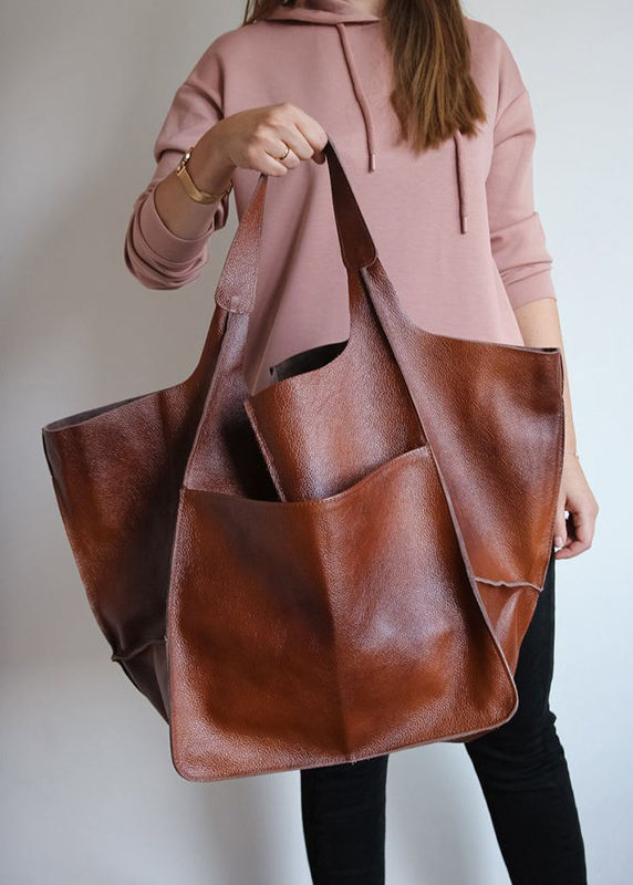 Women Vintage Oversized bag Soft PU Leather Every Day Bag Shopping Bag Slouchy Tote Handbag