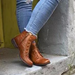 Fashion Women Flat Heel Flip Ankle Boots