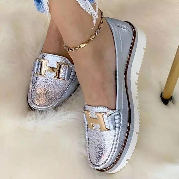 Slip-On Platform Leather Loafers