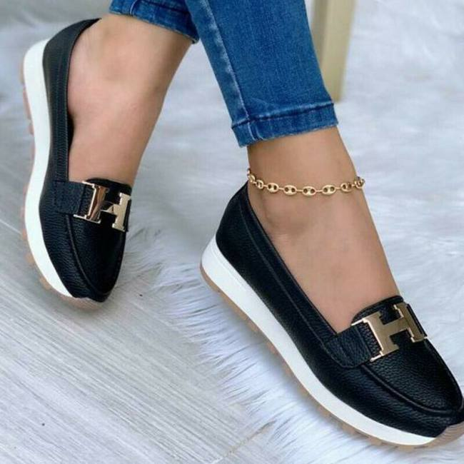 Women's Solid Color Comfortable Flat Loafers