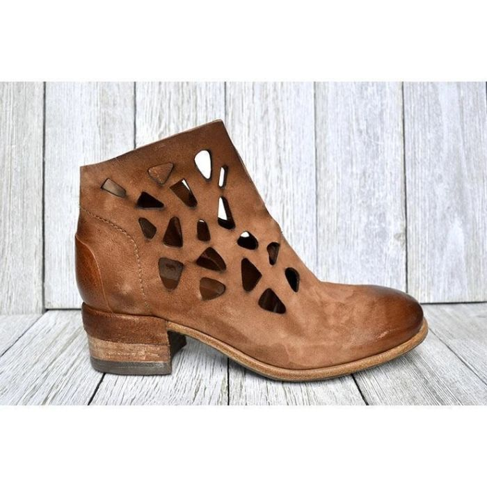 Women's Solid Color Hollow High-Heeled Boots