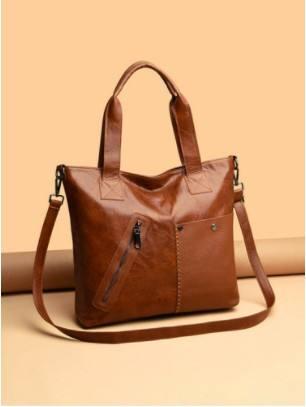 Vintage Anti Theft Front Zipper Pocket Large-capacity Handbag