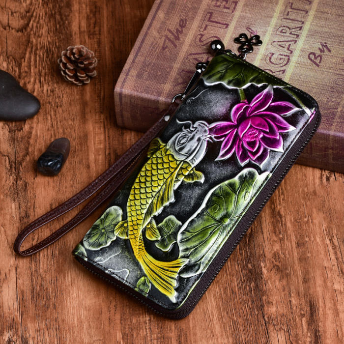 Vegetable Tanned Leather Hand-polished Long Retro Wallet
