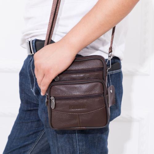 Genuine Leather Men's Diagonal Cowhide Mobile Phone Bag Waist Bag Dual-use Bag