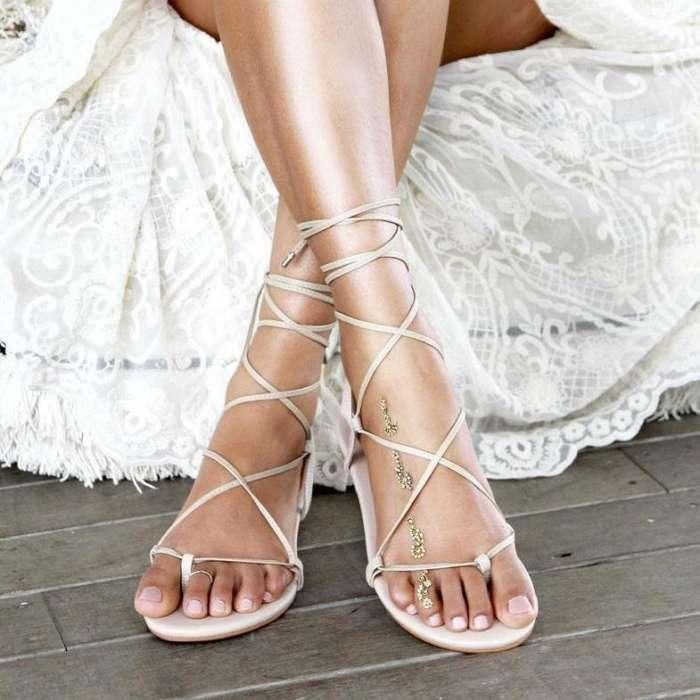Ladies Nude Flat Leather Sandal Gladiator Sandal Nude Wedding Bridal Shoe