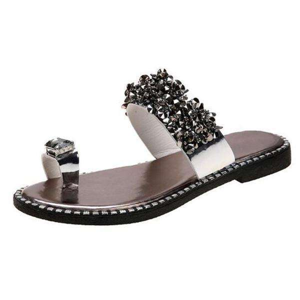 Women's PVC Flat Heel Sandals Slippers With Sequin shoes