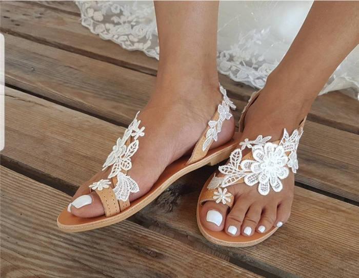 Women Wedding Lace Flower Flip-flop Slip On Sandals