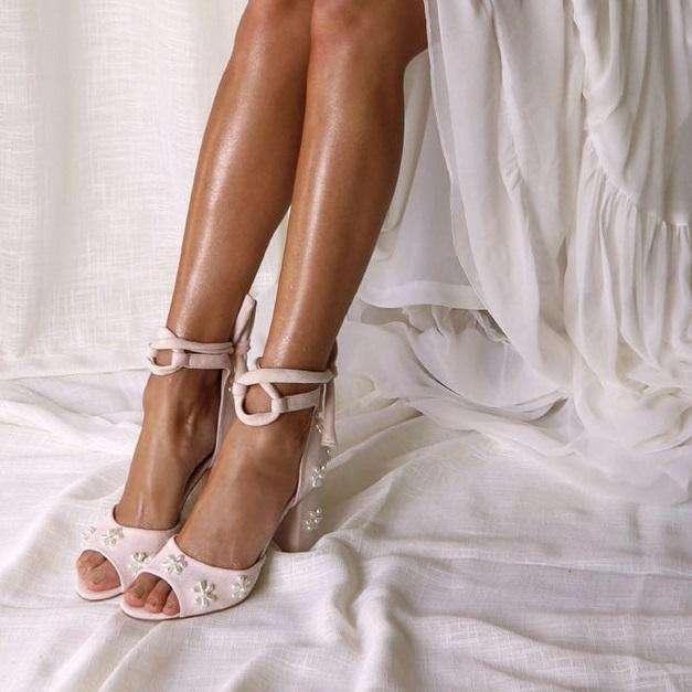 Ladies Beaded Pearl Wedding Block Heel Bridal Shoes
