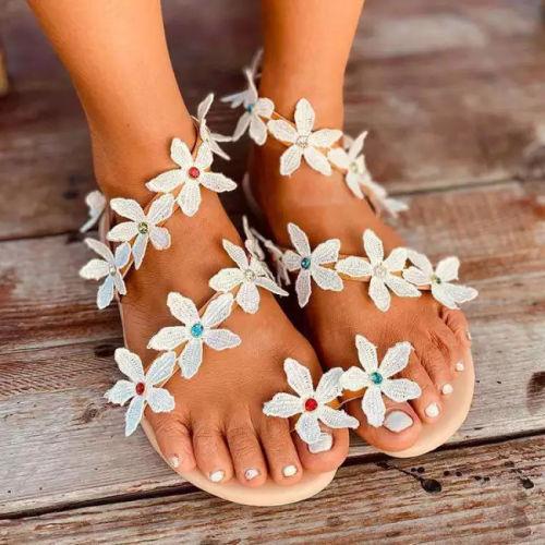 Women  Flat Heel Boho Flower Sandals