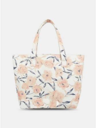 Women Beige Vintage Calico Floral Pattern Printed Shoulder Bag Handbag Tote Shopping Bag