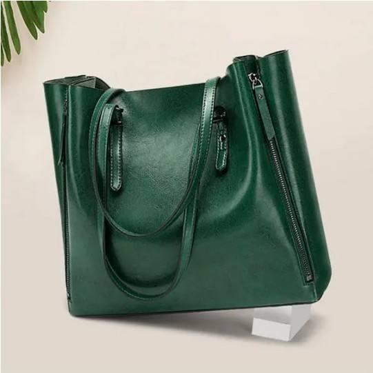 Women Solid Large Capacity Leisure Handbag Faux Leather Shoulder Tote Bag
