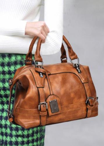 Women PU Leather Handbag Crossbody Bag Solid Shoulder Bag