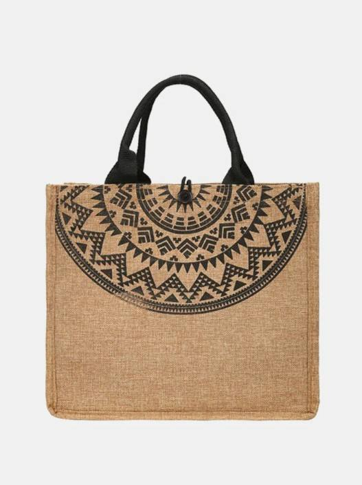 Vintage Pattern Print Jute Cloth Precision Suture Comfy Fabric Lightweight Tote Shopping Bag