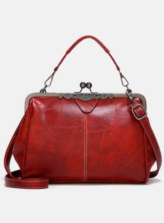 Women PU Leather Vintage Lock Handbag Crossbody Bag Satchel Bag