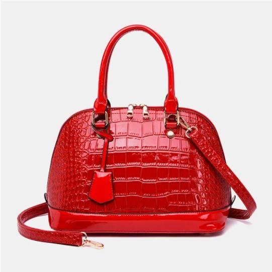 Women Alligator Solid Casual Satchel Crossbody Bag