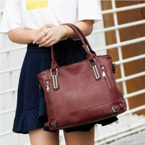 Women Soft Leather Large Capacity Tote Bag