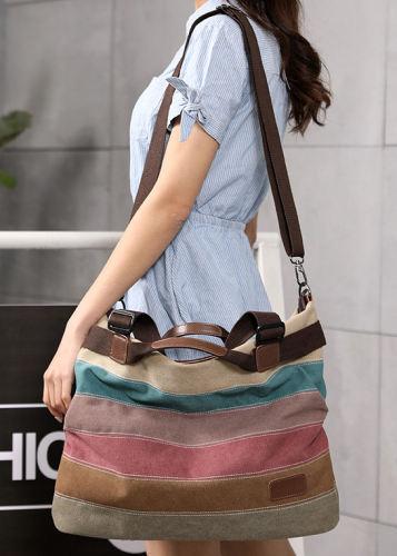 Canvas Striped Handbags Vintage Contrast Color Shoulder Crossbody Bags