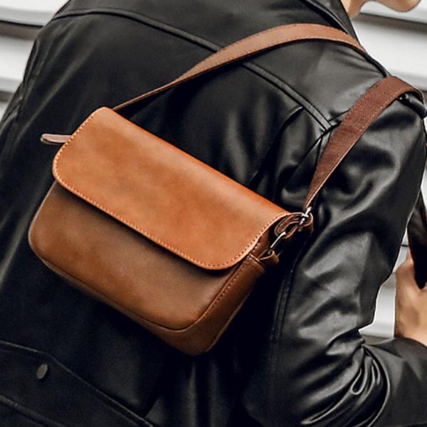 Men's Shoulder Fashion Trend PU Bag
