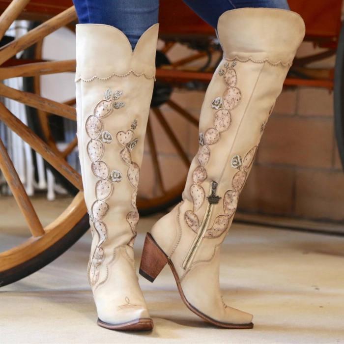 Slip-On Thread Western Boots