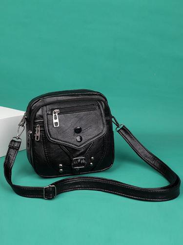 Vintage Studded Buckle Washed Leather Bag