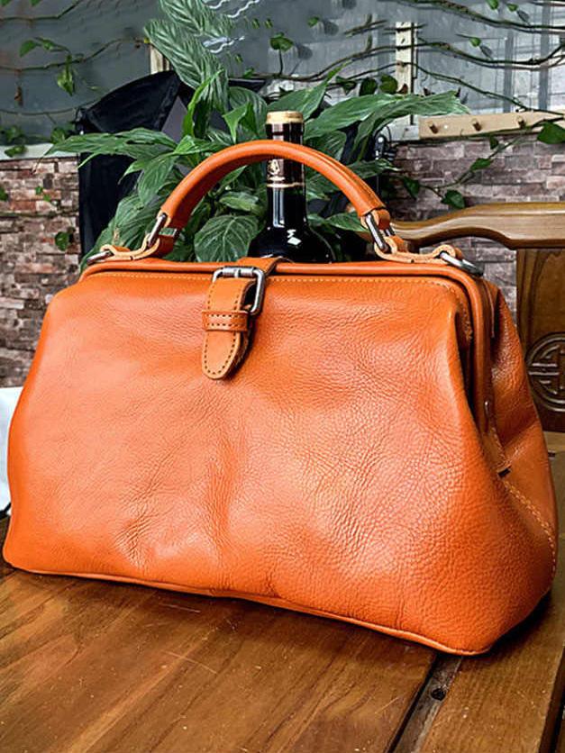 Retro Vegetable Tanned Handbag With Oil Wax Skin