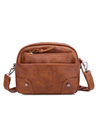 Vintage Washed Leather Utility Crossbody Bag