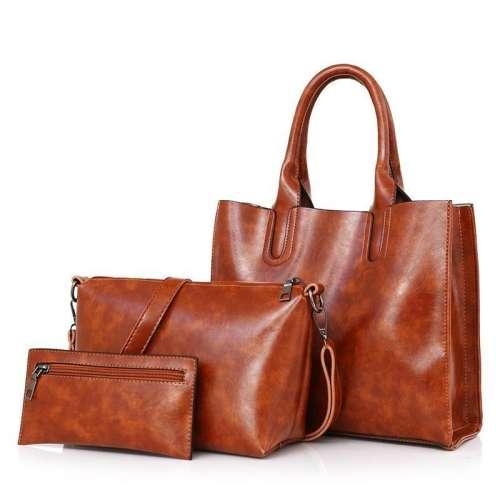Women's new retro three-piece fashion oil wax leather large-capacity handbag
