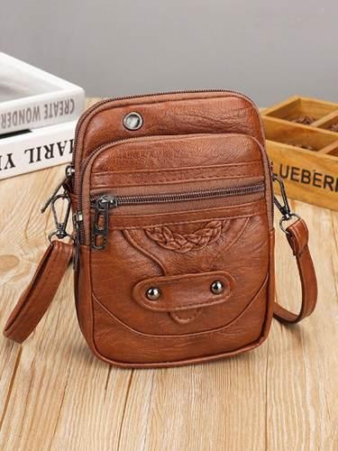 Vintage Studded Washed Leather Crossbody Bag