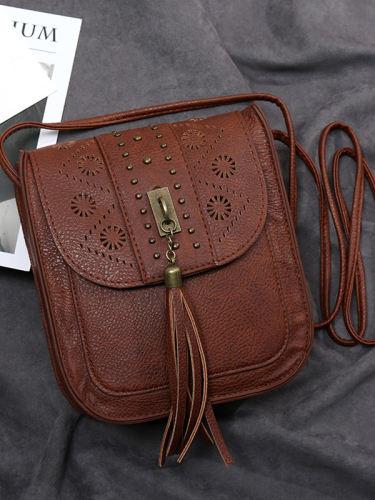 Carved Studded Tassel Washed Leather Crossbody Bag