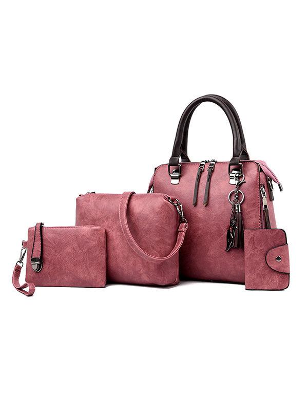 Retro Hipster Four-Piece Leather Bag