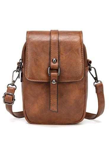Women's Retro Oil Wax Pu Shoulder Messenger Bag